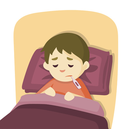 Sick child boy lying in bed with a thermometer in mouth and feel so bad  with fever, vector cartoon illustration.