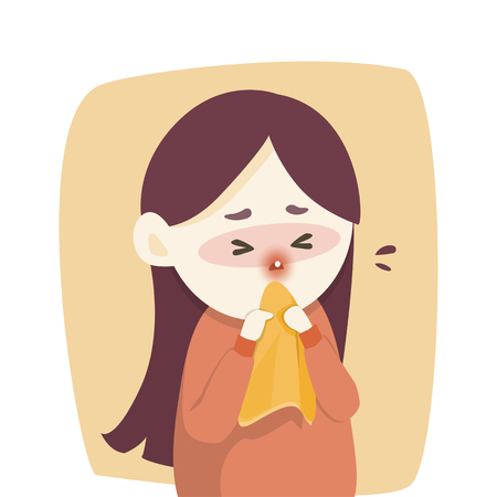 Sick girl has runny nose, caught cold. sneezing into Tissue, flu, Allergy season, Vector illustration.