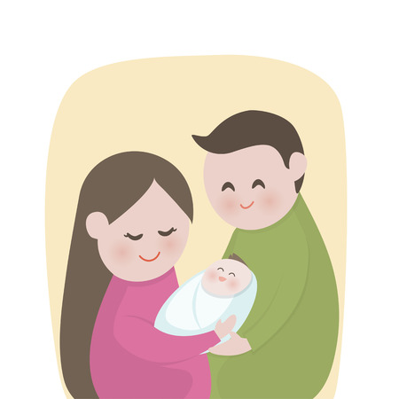 new born baby: Happy family with  cute new born baby, New parents holding , mother, father, Vector illustration.