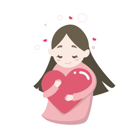 Happy cute girls hugging heart with love feeling, vector cartoon illustration. Illustration