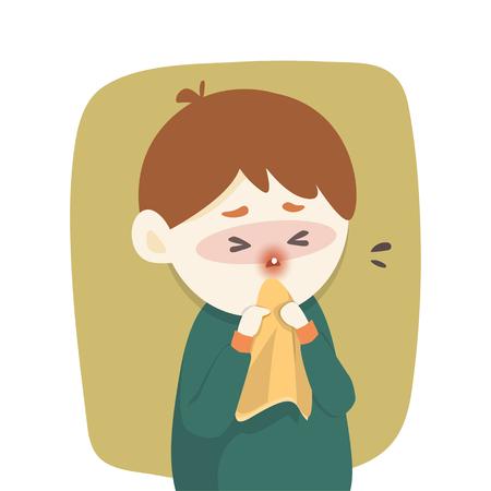 sick boy: Sick boy has runny nose, caught cold. sneezing into Tissue, flu, Allergy season, Vector illustration.