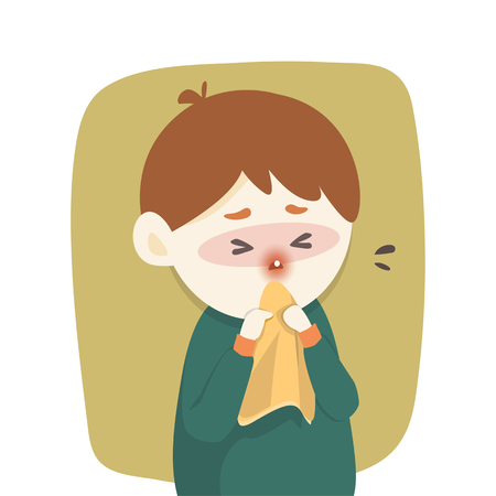 Sick boy has runny nose, caught cold. sneezing into Tissue, flu, Allergy season, Vector illustration.