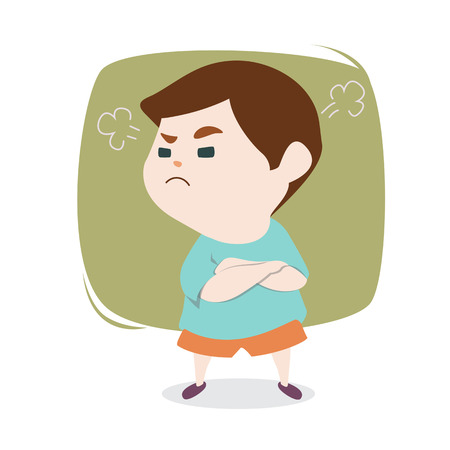 Angry little cute boy with blowing from ears, vector cartoon illustration. Illustration