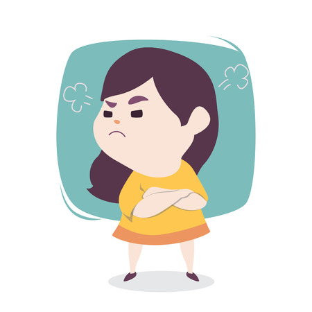 Angry little cute girl with blowing from ears, vector cartoon illustration.