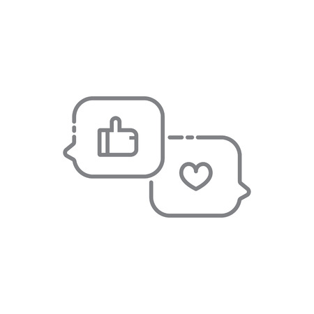 disapprove: Heart and like symbol in speech bubble message icons. Vector illustration.