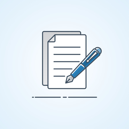 formal signature: Paperwork with pen icon design, Business office symbol. Vector illustration.
