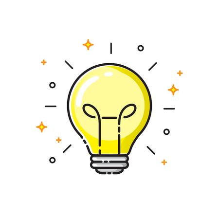Light bulb icon design, idea concept symbol. Vector illustration. Illustration