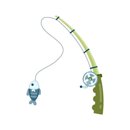 Fishing rod with fish concept, Vector illustration.