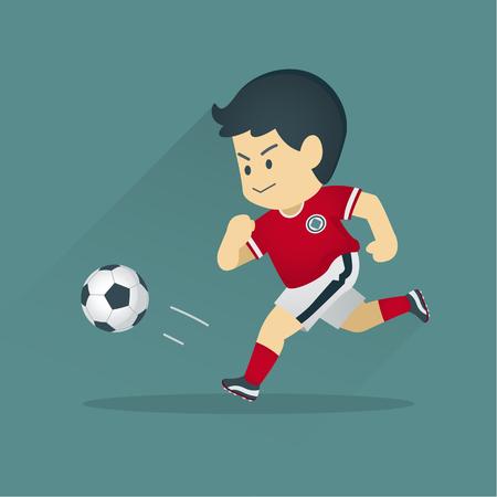 Futbolista pateando una pelota, el niño jugando fútbol, ??Ilustración de dibujos animados de vector.