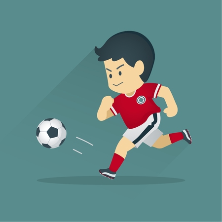 Football player kicking a ball, the boy playing soccer, vector cartoon illustration.