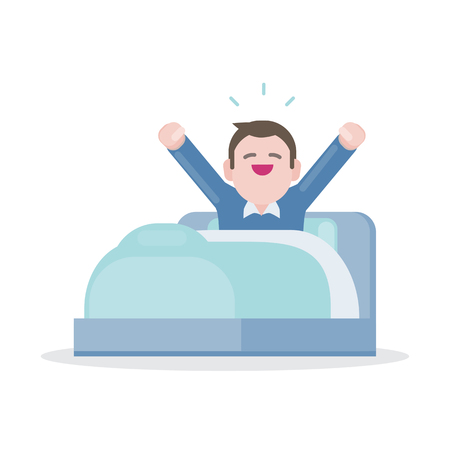 A young man waking up in the morning on bed and stretching, Vector illustration character design. Illustration