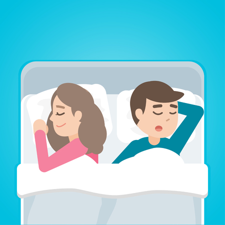 nap: Young couple man and woman sleeping in bed together. Illustration