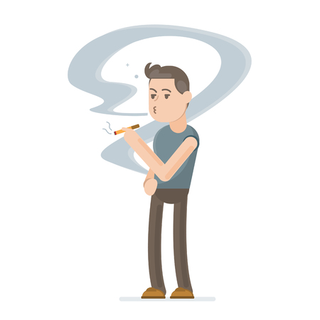 Young man smoking cigarette. Vector character cartoon illustration.