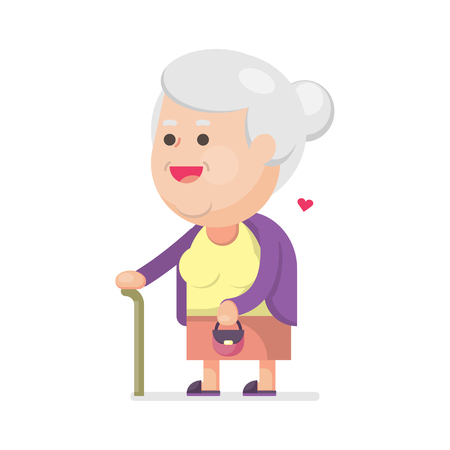 Happy cute old woman with bag, Grandmother with walking stick Portrait, Vector illustration. Illustration