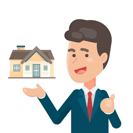 financial adviser: Smiling Salesperson showing a house, estate and Home for sale concept, character illustration. Illustration