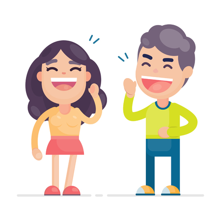 Happy young cute couple having fun and smiling laughing together, Vector character illustration.