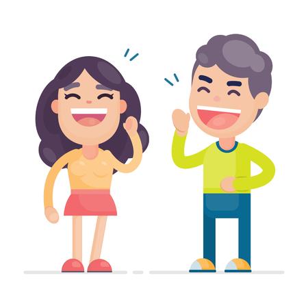 Pares lindos jovenes felices que se divierten y que sonríen riendo junto, ejemplo del carácter del vector. Ilustración de vector