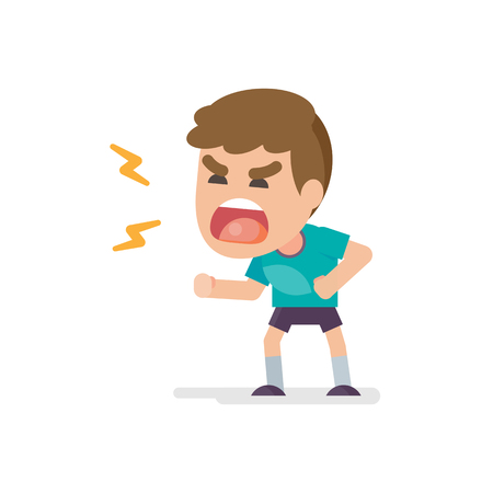 Cute little boy gets mad angry fighting and shouting expression, Vector illustration. Illustration