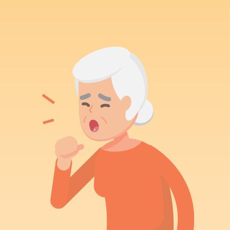 Senior femme tousse, notion d'allergie maladie, illustration vectorielle plane.