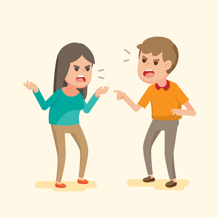 Angry young couple fighting and shouting at each other, people arguing and yelling.