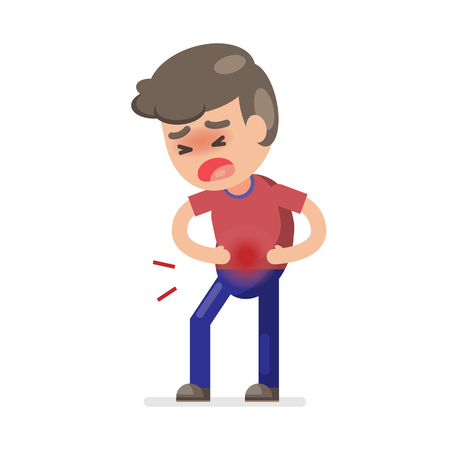 Cute boy having stomach ache and suffering from stomach pain, Vector character illustration.