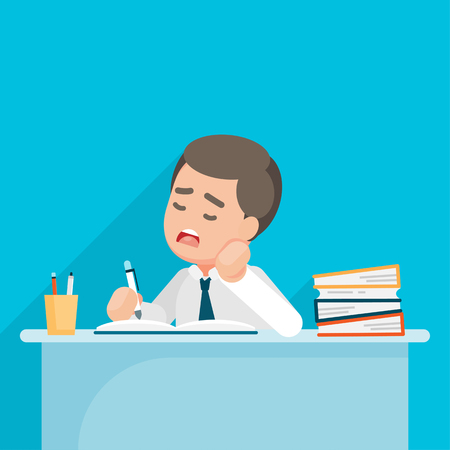 Tired Businessman feel depressed and bored with paperwork at office, Vector character illustration.