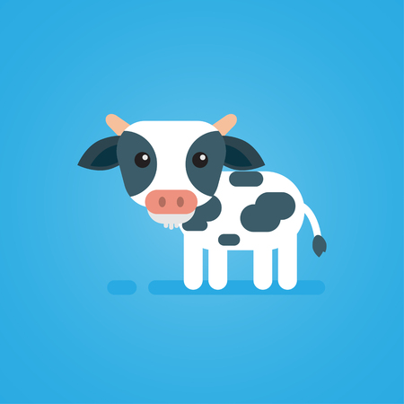 udders: Happy cute cow flat design on blue background, vector icon illustration. Illustration