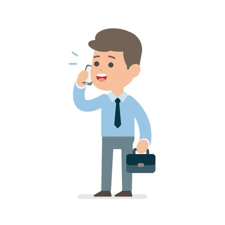 Businessman talking on phone, Vector flat illustration.