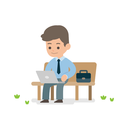 ceo: Young businessman working on laptop sitting on a park bench, vector illustration.