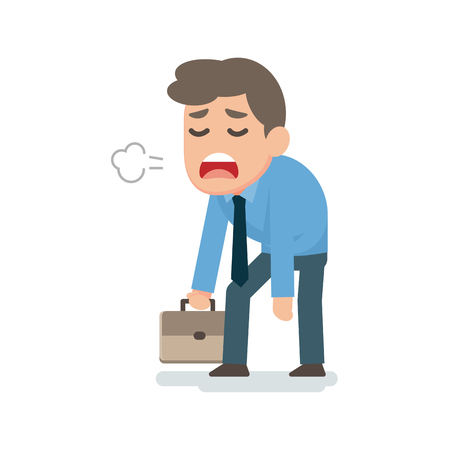 Businessman sad tired disappointed concept, vector flat illustration