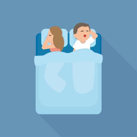 Jonge paarman en vrouwenslaap in bed samen. Vector cartoon illustratie. Vector Illustratie
