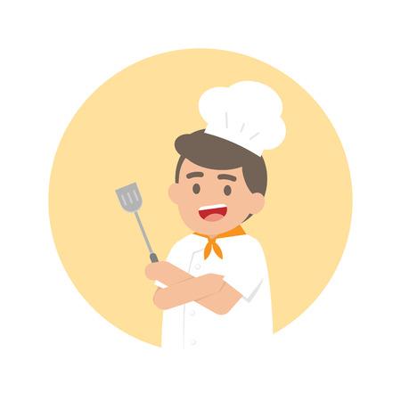 Happy professional chef man, Cute Character vector illustration. Ilustracja