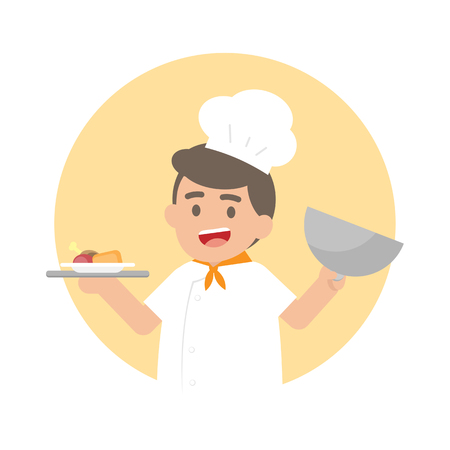 Happy Chef man holding a silver tray with cooked food, Cute Character vector illustration.