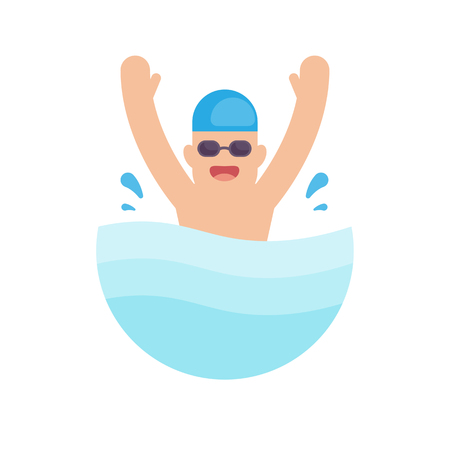 Swimming in the pool, Swimmer concept, vector illustration.