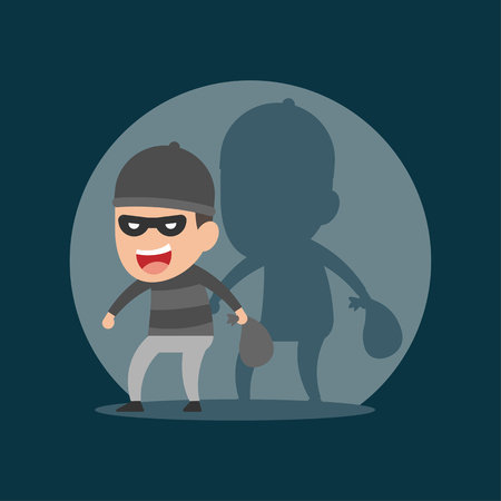 thief steals in the night, criminal concept, vector illustration.