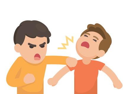 Dos hombres jóvenes luchando enojado y gritando el uno al otro, ilustración vectorial de dibujos animados.