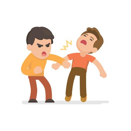 Twee jonge mannen vechten boos en schreeuwen elkaar, Vector cartoon illustratie.
