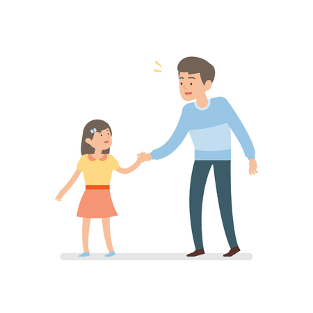 happy father and daughter holding hands while walking together, vector character illustration. Ilustração