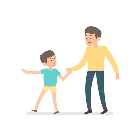 happy father and son holding hands while walking together, vector character illustration.