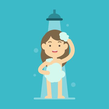 mujer bañandose: Ducha feliz de la muchacha que toma en el concepto del cuarto de baño, ilustración plana del vector.