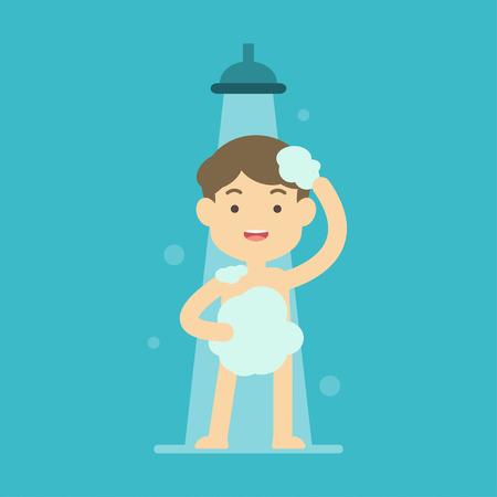 Szczęśliwa chłopiec bierze prysznic w łazienki pojęciu, Płaska wektorowa ilustracja.