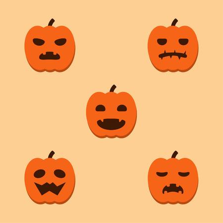 Pumpkins Halloween cartoon emotion icon set.