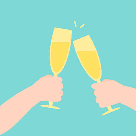 People cheering with champagne glasses, vector flat design illustration.