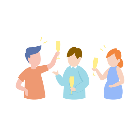 Happy friends having party concept, cheerful young people drinking champagne, vector illustration.