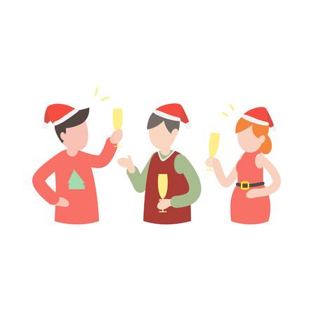 Group of people celebrating Christmas, vector illustration. Ilustracja