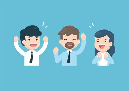 Business team celebrating together, happy people Success concept, vector illustration.