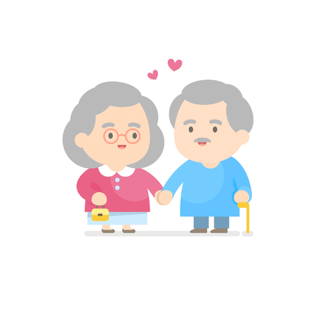 Happy senior couple smiling together, grandpa and grandma concept, vector illustration. Ilustracja