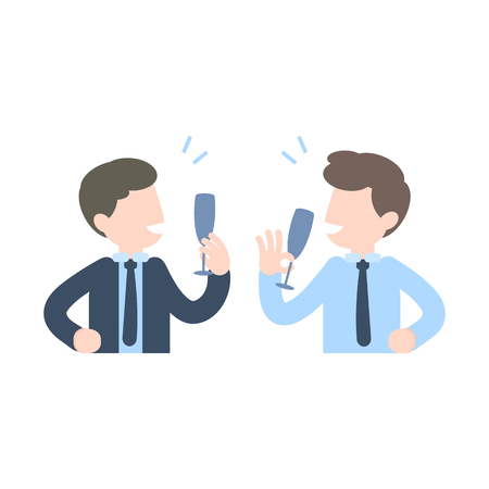 Businessman drinking champagne cheer up celebrating, business partner successful concept, vector illustration. Ilustracja