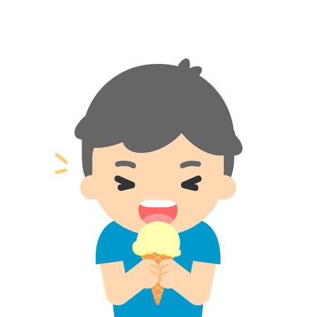 Happy boy eating ice cream, enjoying dessert, vector illustration. Ilustracja
