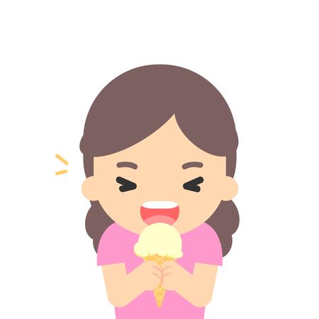 Happy girl eating ice cream, enjoying dessert, vector illustration.